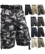 Mens Cargo Shorts with Belt 30 52 Twill Short Camo Pants Summer Multi Po... - $24.22+