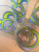 Set of 4 Mint Condition Vintage 60s Colony blue/green rainbow collins glasses image 3