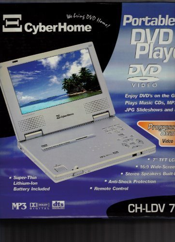 CyberHome CH-LDV 712 7-Inch Portable Progressive-Scan DVD Player , Silver