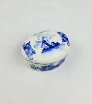 Vtg Delft Holland hand painted ceramic jewelry box trinket box Solvang C... - $24.75