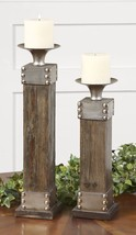 Two Tuscan Wood Candle Holders Silver Restoration Accents - $138.60