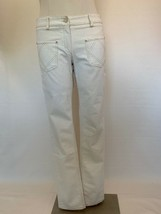 CHANEL Off White Denim Straight Legs Jeans Pants Four Quilted Pockets. W... - $643.50