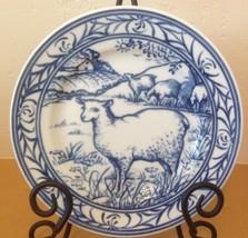 "Williams Sonoma Brittany Blue Sheep Salad Plate Farm Scene 7.75"" Japan - $28.04"
