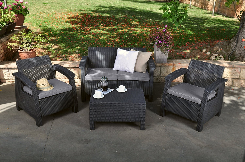 Outdoor Patio Set Garden Yard Lounge Rattan Wicker Furniture Seat Cushions Grey