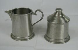 Leonard English Pewter Sugar Bowl w Lid and Creamer Set Sheffield - $12.86