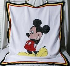 "Handmade Disney Mickey Mouse Throw Blanket 54"" x 45"" - $92.02"