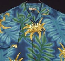 Tommy Bahama Blue Aloha Hawaiian Camp Shirt Silk Floral Monstera Leaves ... - $49.99