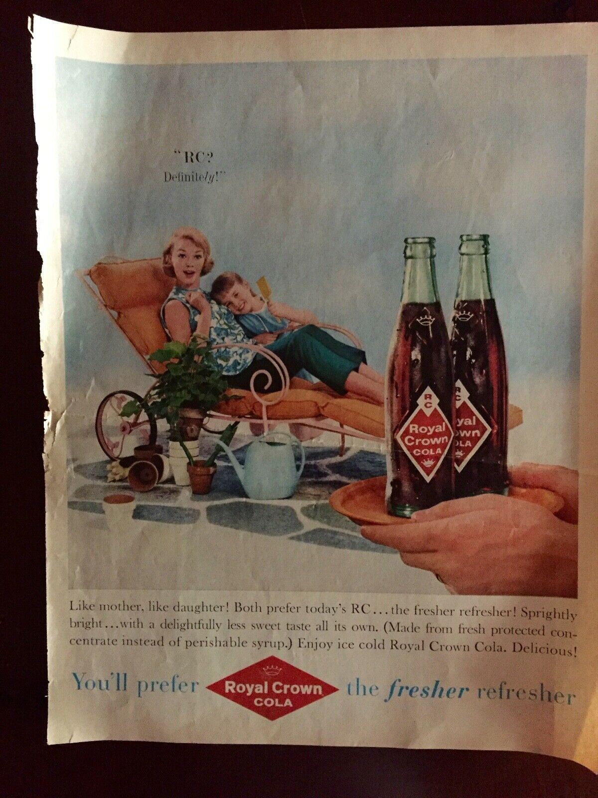 Primary image for Vintage RC Royal Crown Cola Advertisement Like Mother Like Daughter