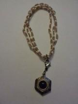 Seed Bead Bracelet With Purple Stone Silver Hexagon Poison Locket Pendant - $18.99