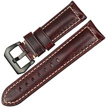 MAIKES Vintage Oil Wax Leather Watch Strap 22mm 24mm 26mm Watchband with... - $19.24