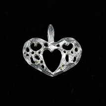 Vintage .925 Sterling Silver .5g Hollow Carved Mini Heart Pendant Charm - $9.53