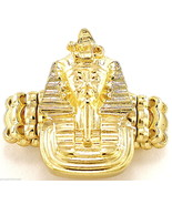 Pharaoh Ring New With Stretch Band King Tut Ancient Egyptian Medusa Style - $13.18
