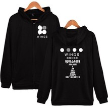 Kpop  Zipper Hoodie WINGS Sweater Unisex  Sweatershirt Coat jin V - $25.99