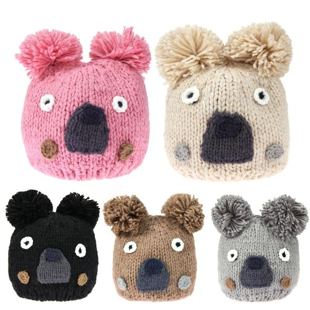 Nit hat toddler cartoon animal sloth cap cute hairball warm crochet hat fashion kids.jpg 640x640