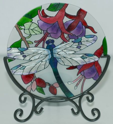 Joan Baker Designs Hand Painted Art Glass Candle Plate Holder