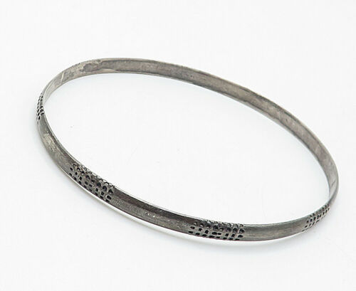 ROGER DUVOISIN 925 Silver - Vintage Dark Tone Patterned Bangle Bracelet - B5211