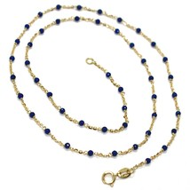 Necklace Yellow Gold 18K 750, Cubic Zircon Blue, Faceted, Chain Rolo ' Oval image 1