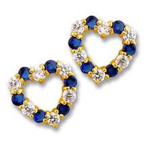 1CT Heart 14K Yellow Gold Blue Sapphire W/ White Sapphire Screw Stud Earrings - $75.73