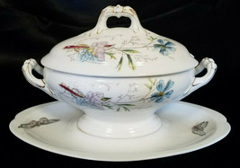 Antique Asian Themed China Hand Painted Oval Covered Gravy Boat, Unknown... - $22.50