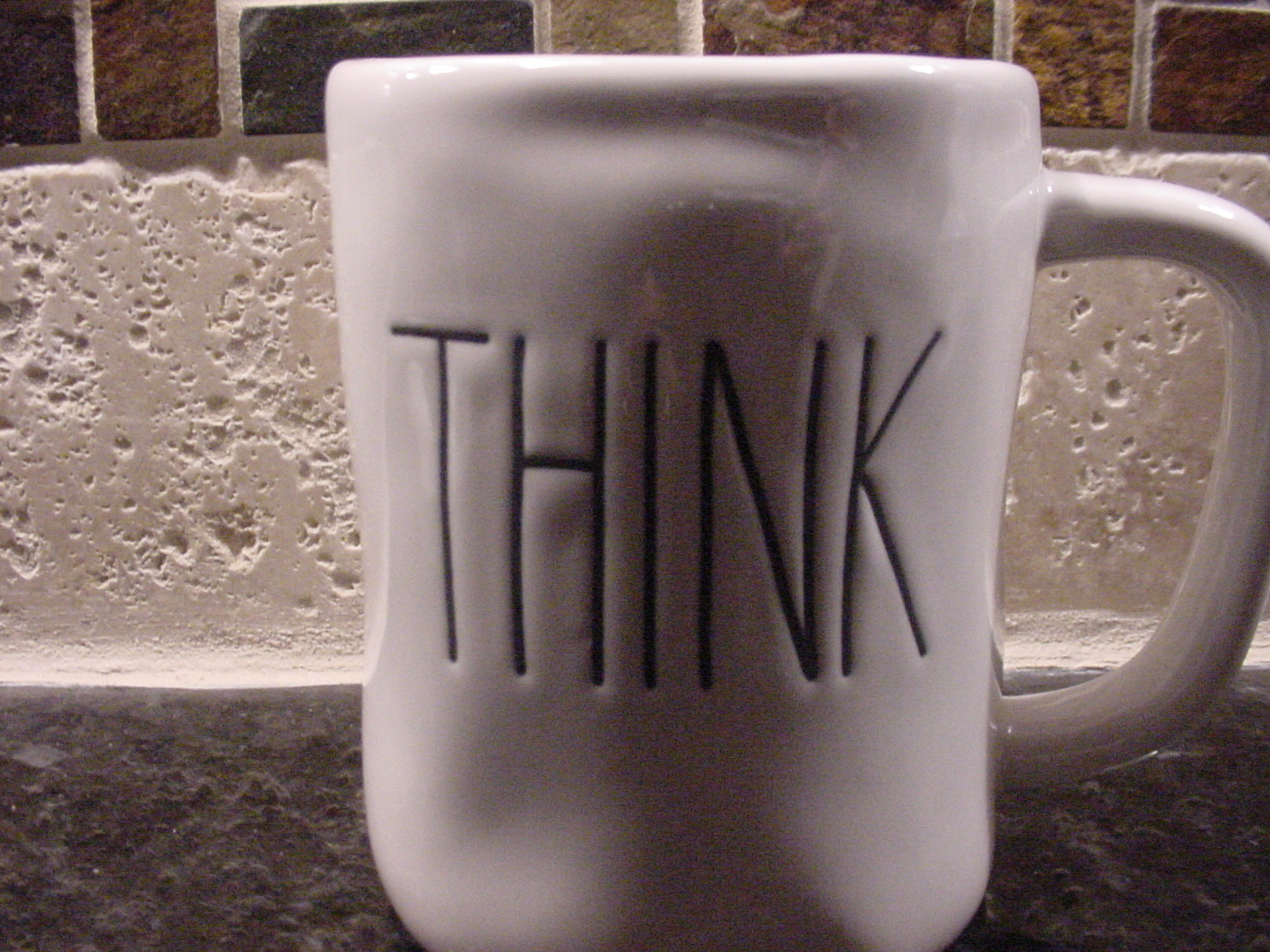 Rae Dunn THINK Mug, Ivory with Black Lettering