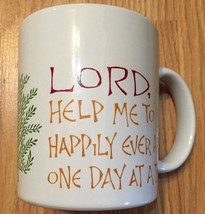 "Hallmark White Vintage ""Lord Help Me..."" Teal inside Coffee Mug - $5.88"