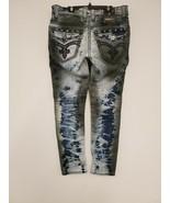 Fashion Jeans for Men Rock Revival Stretch Denim Fade Wash Biker Moto Studs - $183.82