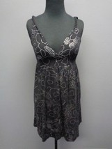 SPLENDID Black Silver Floral Print Cotton Blend Sleeveless Tunic Top Sm ... - $29.69