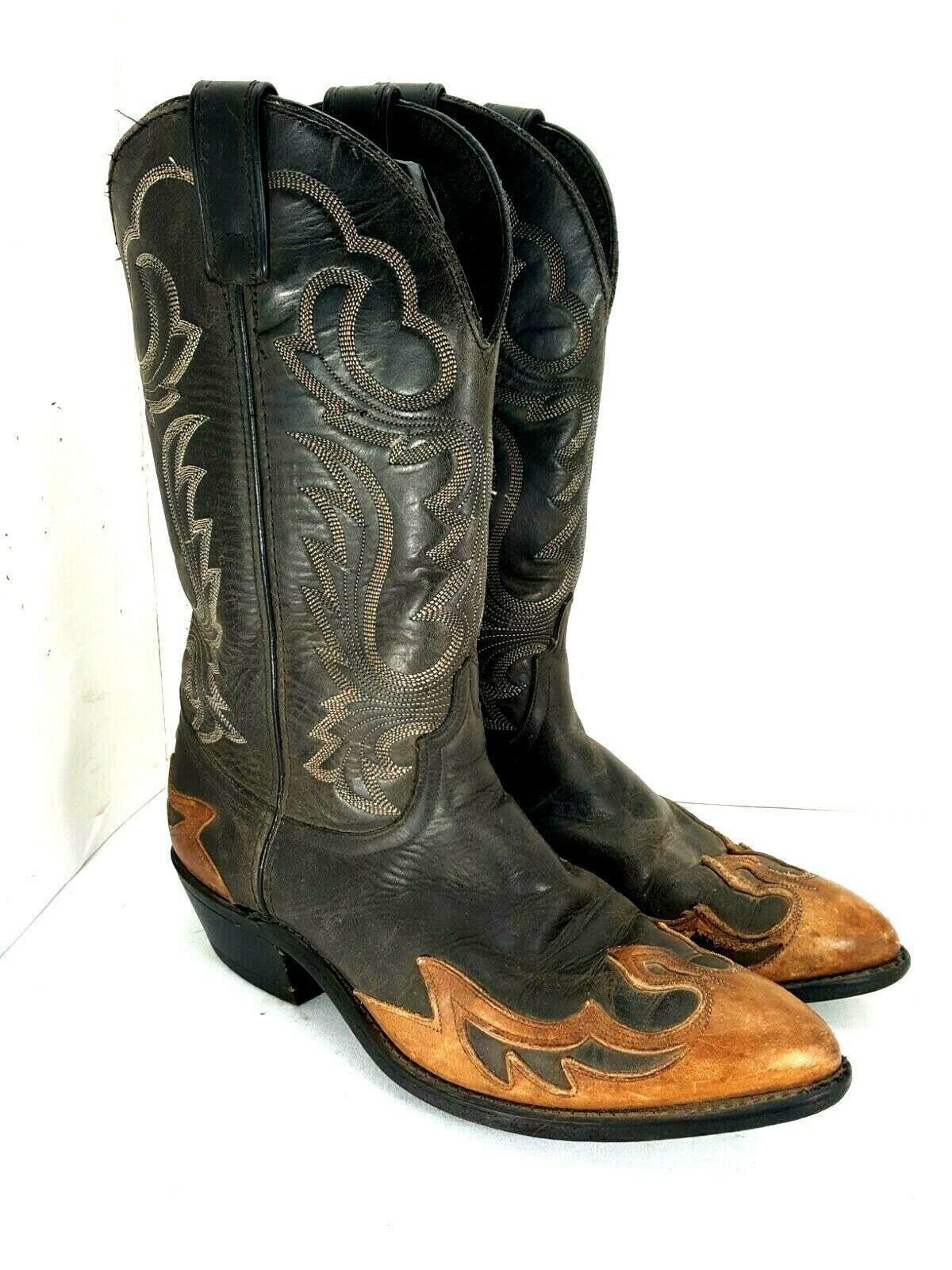 Primary image for Vintage Men's Code West  Brown,Black Distressed Cowboy Western  Boots Size 8 D