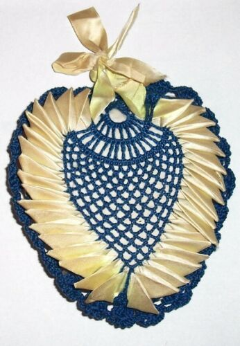 Primary image for Vintage Navy Blue &Yellow Ribbonwork CROCHETED HEART LARGE PIN CUSHION