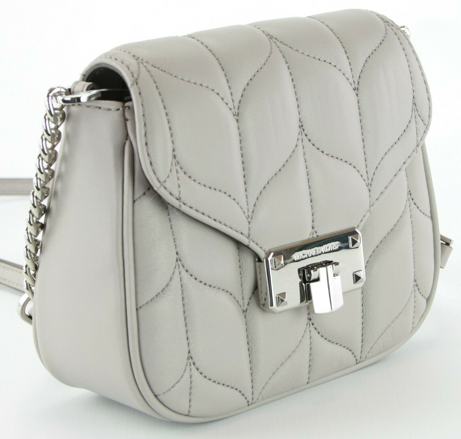 Michael Kors Peyton Quilted Leather Cross Body Bag Small Handbag Grey RRP £270