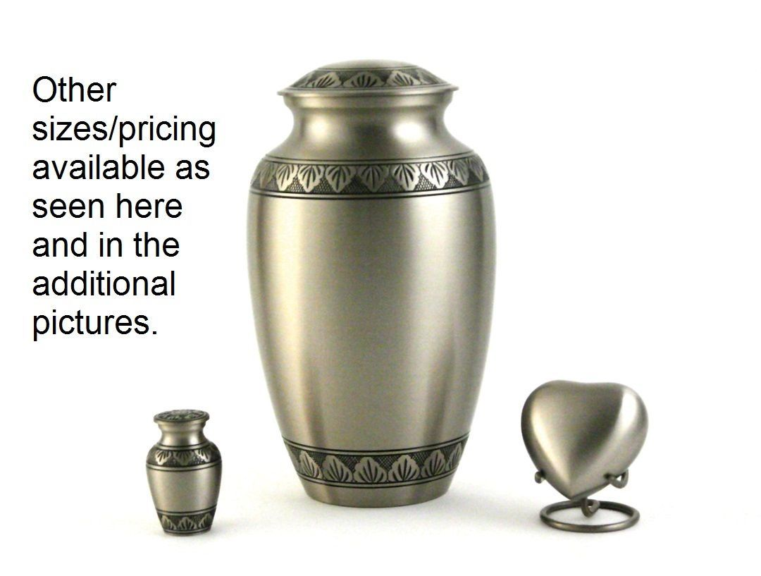 New, Solid Brass Atena Pewter Large Funeral Cremation Urn, 190 Cubic Inches image 2