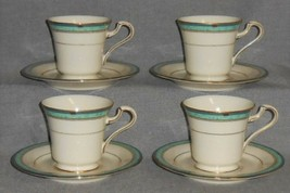 Set (4) MIKASA Fine Ivory MAJESTIC JADE PATTERN Cups/Saucers MADE IN JAPAN - $31.67