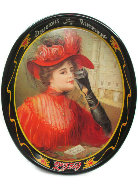 Primary image for Coca-Cola Reproduction Tray 1908 Calendar Lady in Red