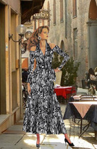 Women's Wrap Tea Length Dress Animal Prints Made To Measurement XS-XL - $130.00