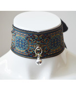 Made to Order - Kittenplay collar - Aaliyah - black blue and gold -  dar... - $29.00