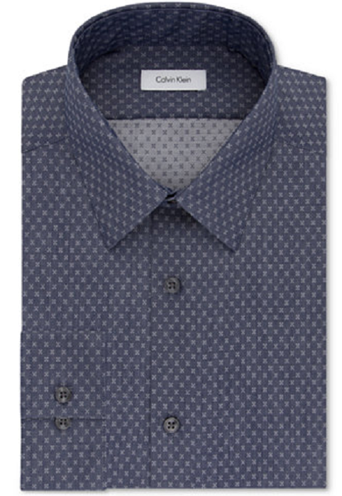 Calvin Klein STEEL Men's Slim-Fit Non-Iron Performance X-Pattern Dress Shirt,$75 - $32.66