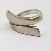 Signed NF .925 Sterling Silver Solid Wrap Band Plain Ring Ladies Size 6 ... - $18.78