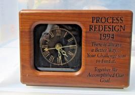 Solid wood vintage handmade desk shelf mantel clock quartz advertising s... - $16.57