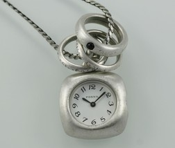 Fossil Casual Necklace Silver White Matte Stainless Steel WR Quartz Numb... - $28.66