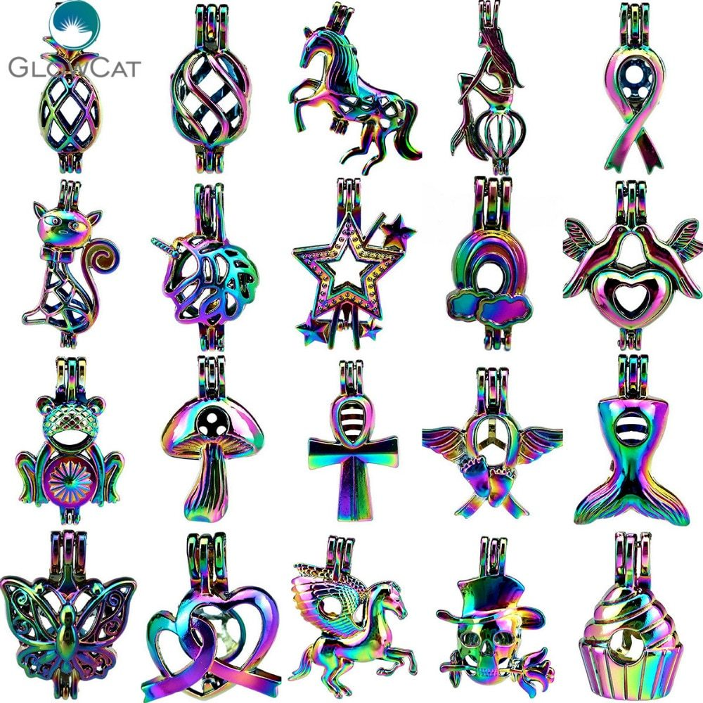 Primary image for MIX Rainbow Color Kinds of Cat Bird Cake Heart Fruit Animal Pearl Beads Cage Loc