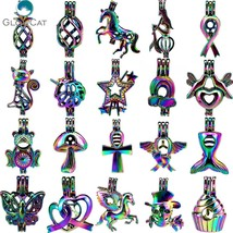 Rainbow color kinds of cat bird cake heart fruit animal pearl beads cage locket pendant thumb200