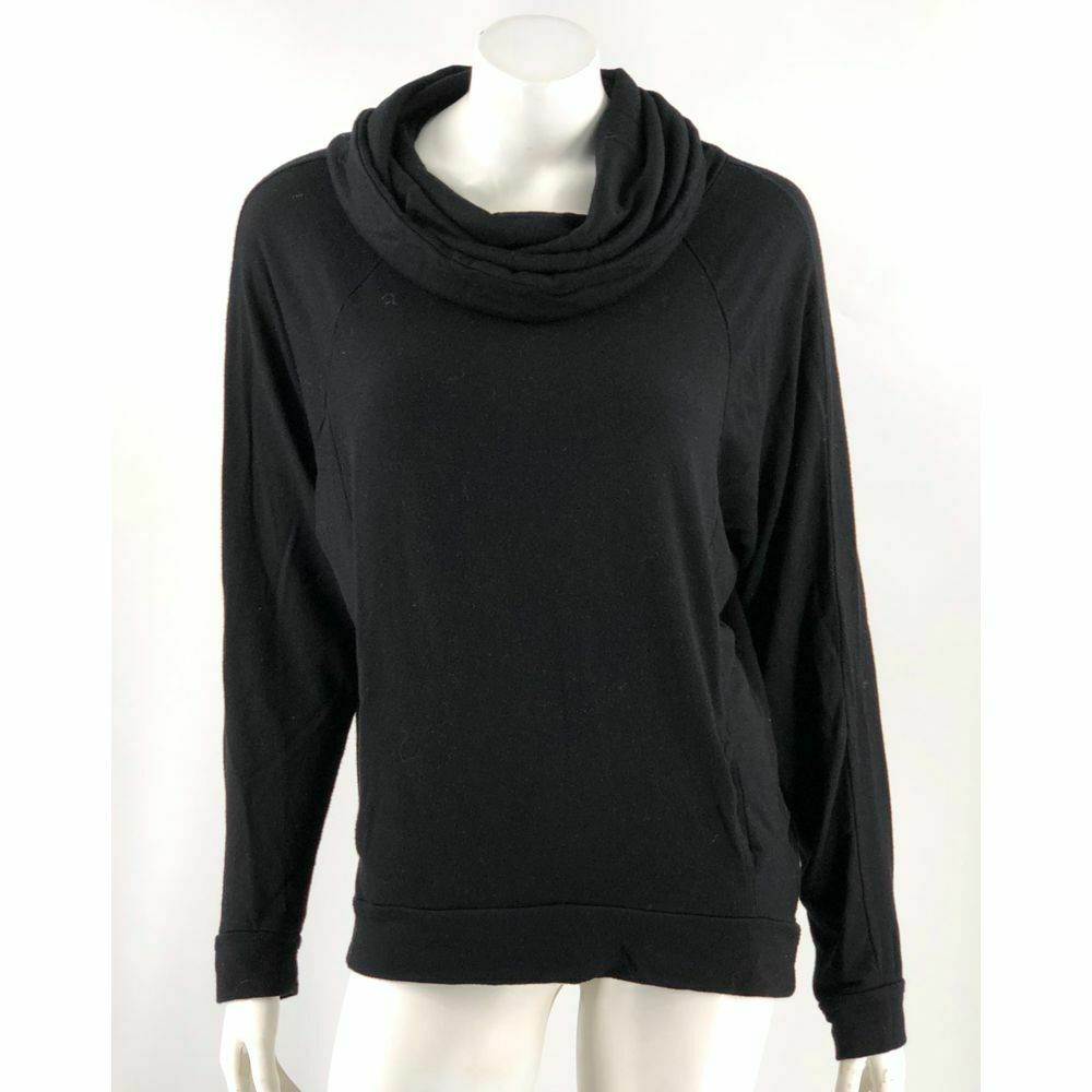 Primary image for Good hYOUman Top Small Black Cowl Neck Long Sleeve Front Pocket Made in USA