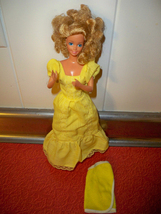 1980's Vintage magic curl barbie Yellow dress, doll and wrap around towe... - $19.99
