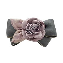 Artificial Rose Flower Cloth Hair Pin Handmade Bowknot Hair Barrettes, Grey - $12.65
