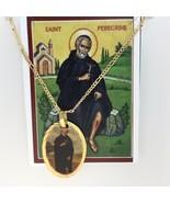 San Peregrino Medalla Saint Peregrine Medal 18K Gold Plated Necklace Pen... - $13.86