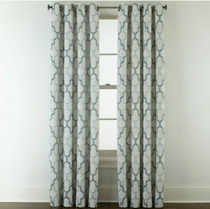 Primary image for (1) JCPenney Home Casey Jacquard IMPERIAL TEAL 7313191 Grommet Curtain 50 X 84