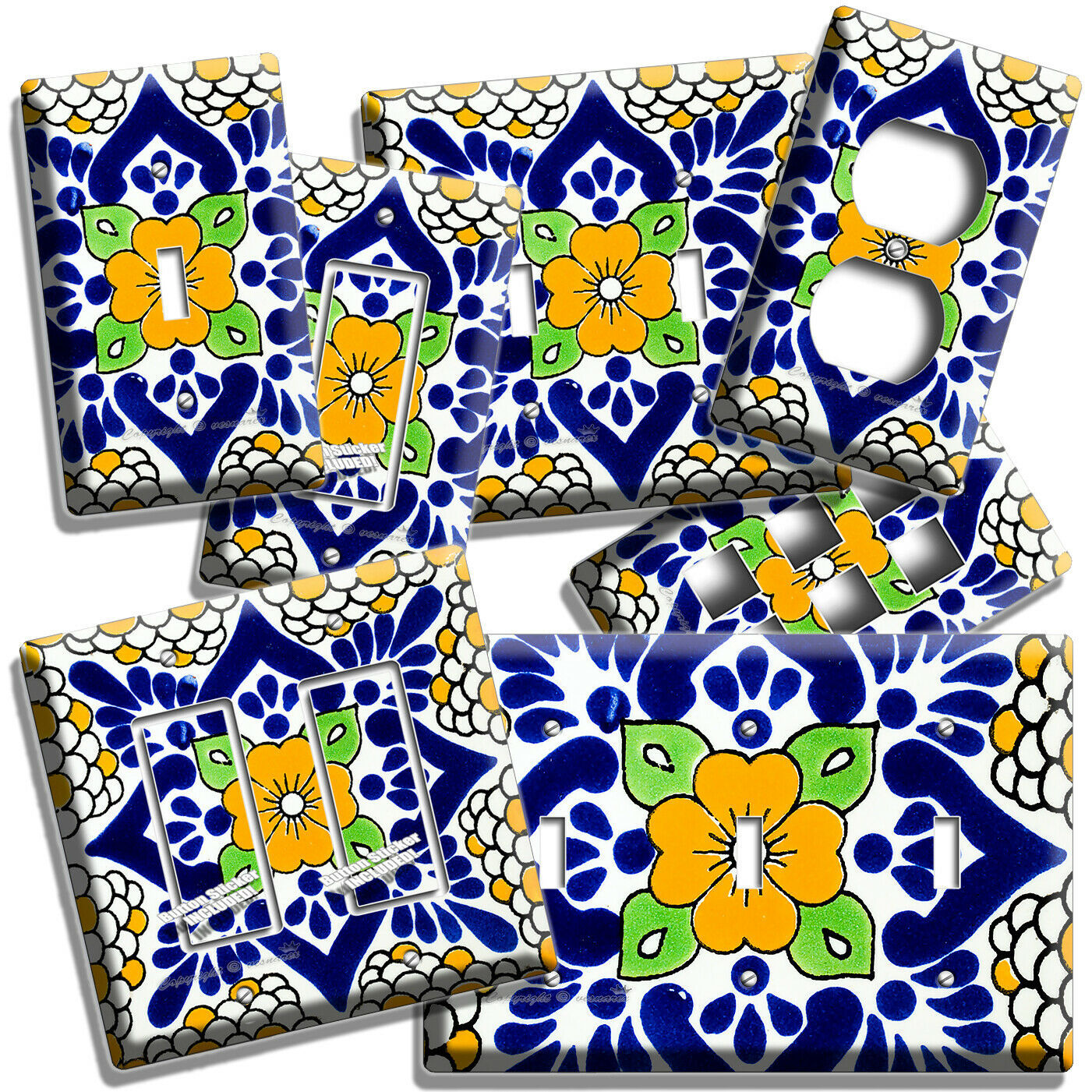 Primary image for MEXICAN YELLOW TALAVERA TILE LOOK LIGHT SWITCH OUTLET PLATES KITCHEN FOLK DECOR