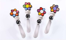 Romero Britto Spreader Knives Set of 4 - Gift Boxed - Flower 331829 Collectible