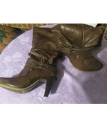 X APPEAL BOOTS PRE-OWNED BROWN SIZE 6.5 BROWN LEATHER FREE SHIPPING - $8.99