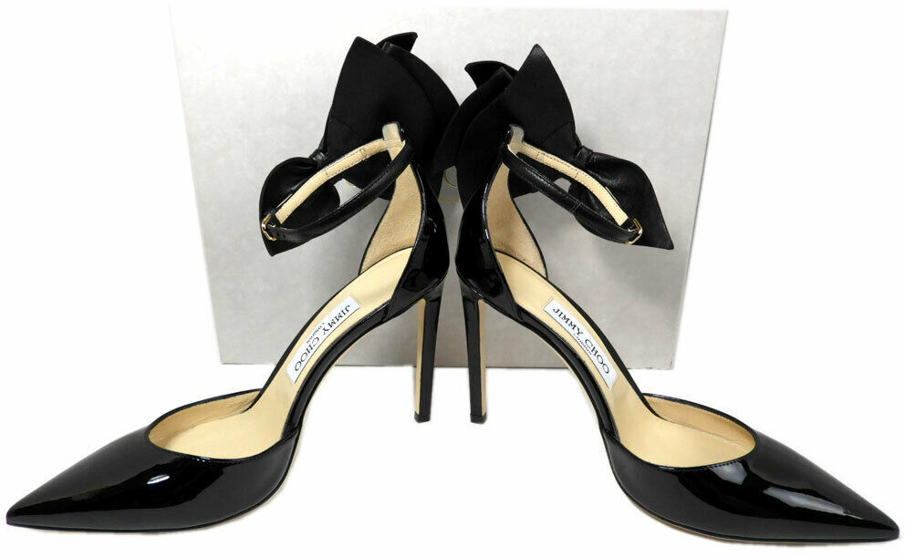 Jimmy Choo KELLEY Bow Pointy Toe Pumps Black Leather Heels Shoes 37.5 Sandals image 8